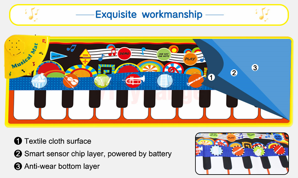Hda55780e264b4a4fae92a10d5e43db2eX 110x36cm Musical Piano Mat Baby Play Mat Toy Musical Instrument Mat Game Carpet Music Toys Educational Toys for Kids Xmas Gift