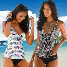 Tankini בגד ים 2020 נשים בגדי ים ללא משענת ביקיני לדחוף למעלה גבוהה מותן הלטר V העמוק חוף שחייה חליפה בתוספת גודל 5XL