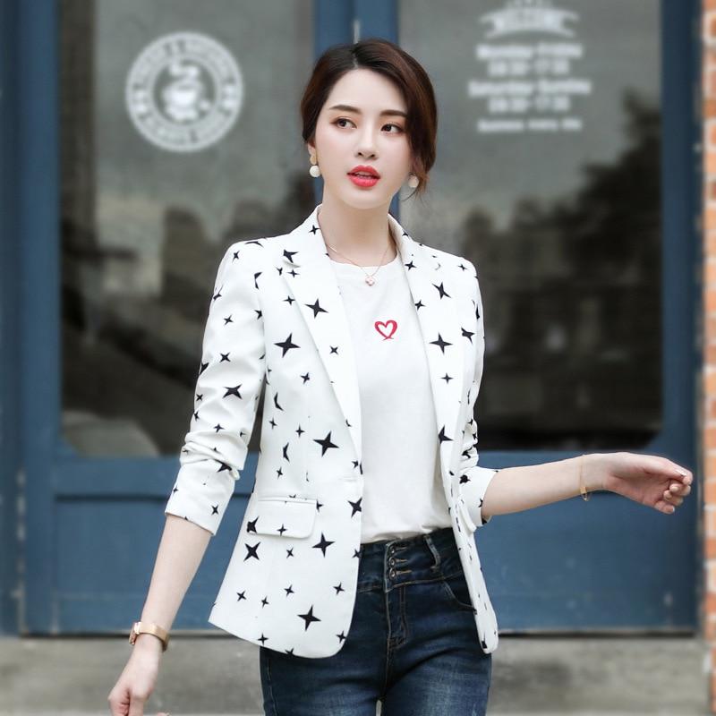 2019 Autumn Temperament Fashion Small Jacket Women OL Commuter Single Button Casual Star Printing Blazer Plus Size