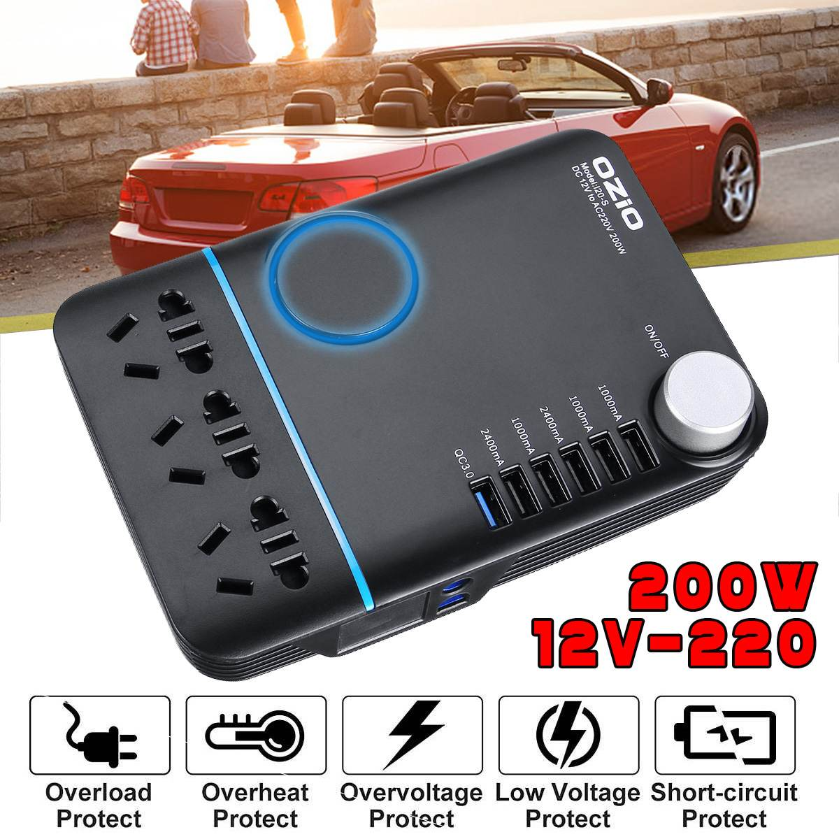 Ozio 200W Car Power Cigarette Lighter Inverter DC 12V To AC 220V Converter Charger Adapter Transformer Lighter Socket USB Output
