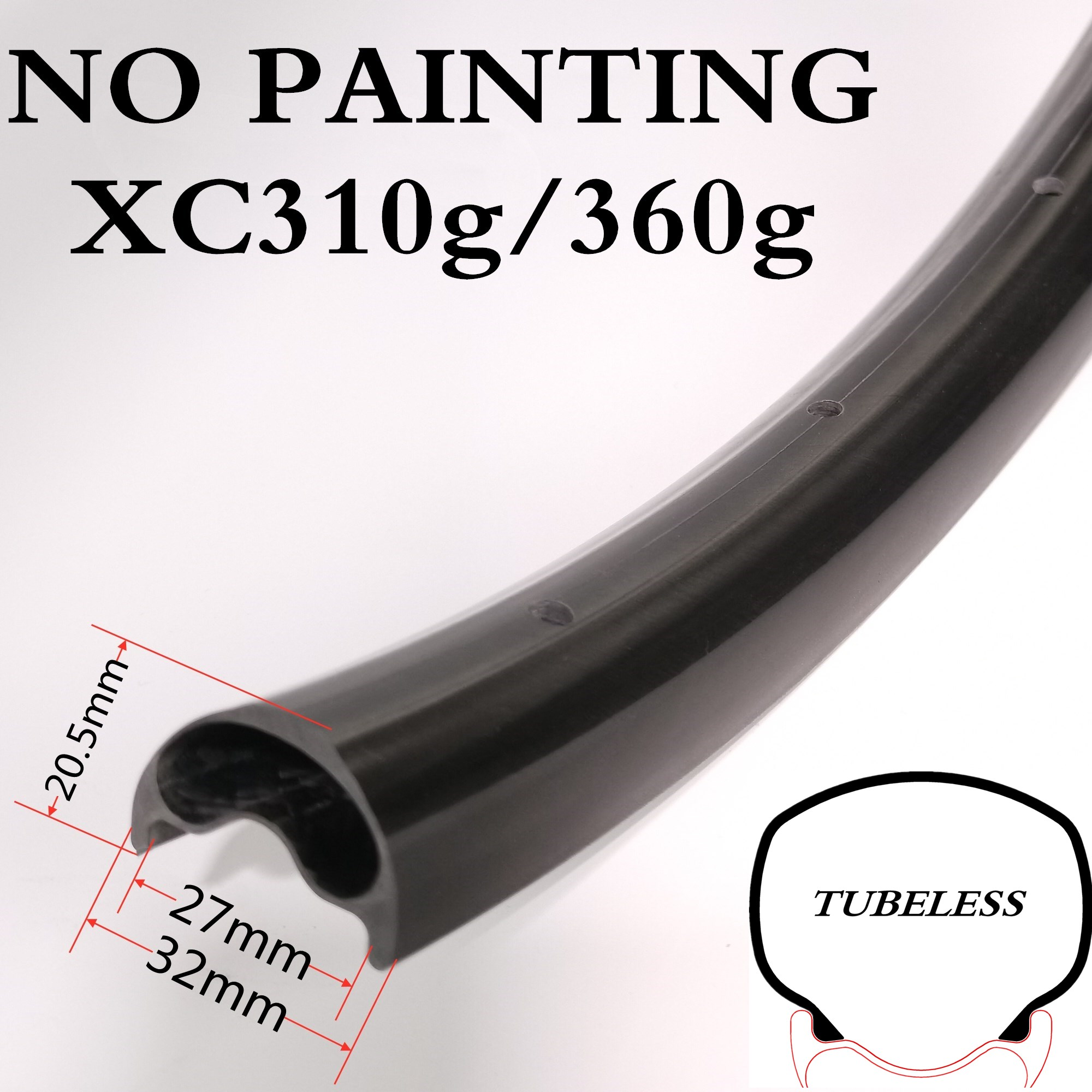 29er XC310g/360g 32mm Width 20.5mm Depth Asymmetry Carbon MTB Mountain Bicycle Tubeless Rim Roue Vtt Lifetime Warranty