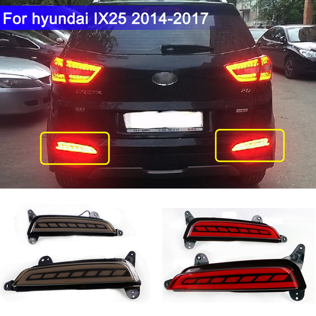 2PCS Rear Lights For Hyundai Creta IX25 2014-2017 Function As  LED DRL Rear Bumper Tail Light& Fog Lamp Brake Lights