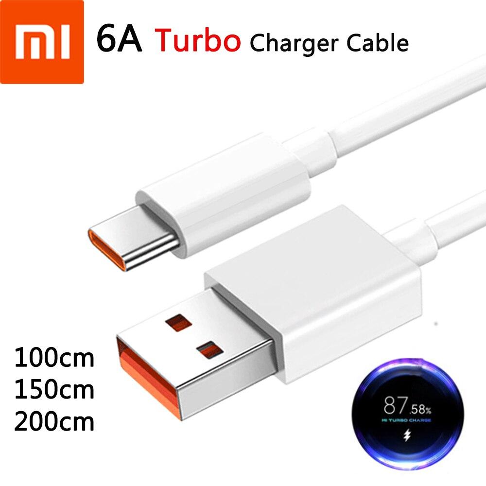 Xiaomi оригинальный 1/1.5/2M Turbo зарядное устройство кабель 55 Вт быстрой зарядки 6A для Mi 11 10T 10 Pro 5G черного цвета с изображением акулы 3S Redmi Note 9 10 K40 Pro
