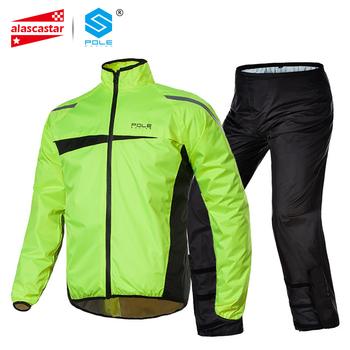 Słup wodoodporny motocykl kostium przeciwdeszczowy płaszcz przeciwdeszczowy + spodnie przeciwdeszczowe Poncho motocykl kurtka przeciwdeszczowa jazda motocykl deszcz płaszcz motocykl tanie i dobre opinie Nylon Spinning+PU Raincoat 1 0kg 210T+PU+mesh+PU adhesive Fluorescent green M L XL XXL AR820