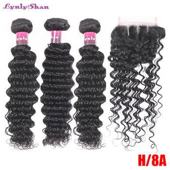 цена на Peruvian Deep Wave 2/3/4 Bundles With Lace Closure Human Hair Weave Bundles With 4*4 Free Part Closure Remy Hair Extensions