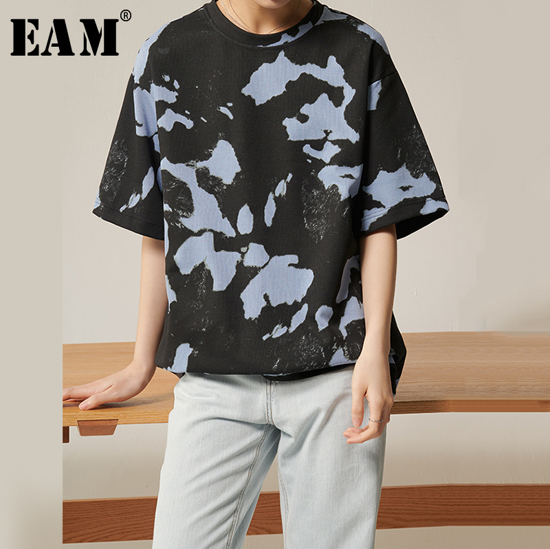 [EAM] Women Black Pattern Printed Temperament T-shirt New Round Neck Three-quarter Sleeve  Fashion Spring Summer 2020 1S945