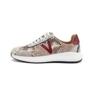 Image 4 - Authentic real pele python macio entulho sola unisex casual tênis exótico genuíno couro de cobra sapatos masculinos de renda