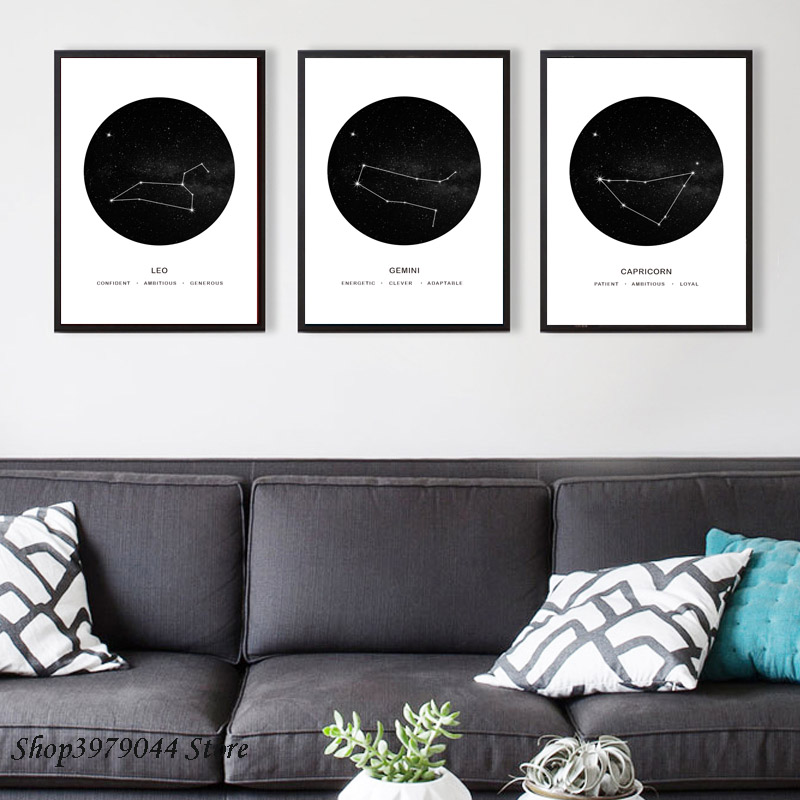 Nordic Poster Abstract Wall Art Constellation Painting Capricorn Gemini Leo Poster And Prints Canvas Pictures For Living Room