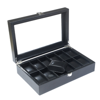 12 Slot Watch Storage Holder Wooden Watch Display Box Showcase with Lid with PU Leather Interior Jewelry Packaging
