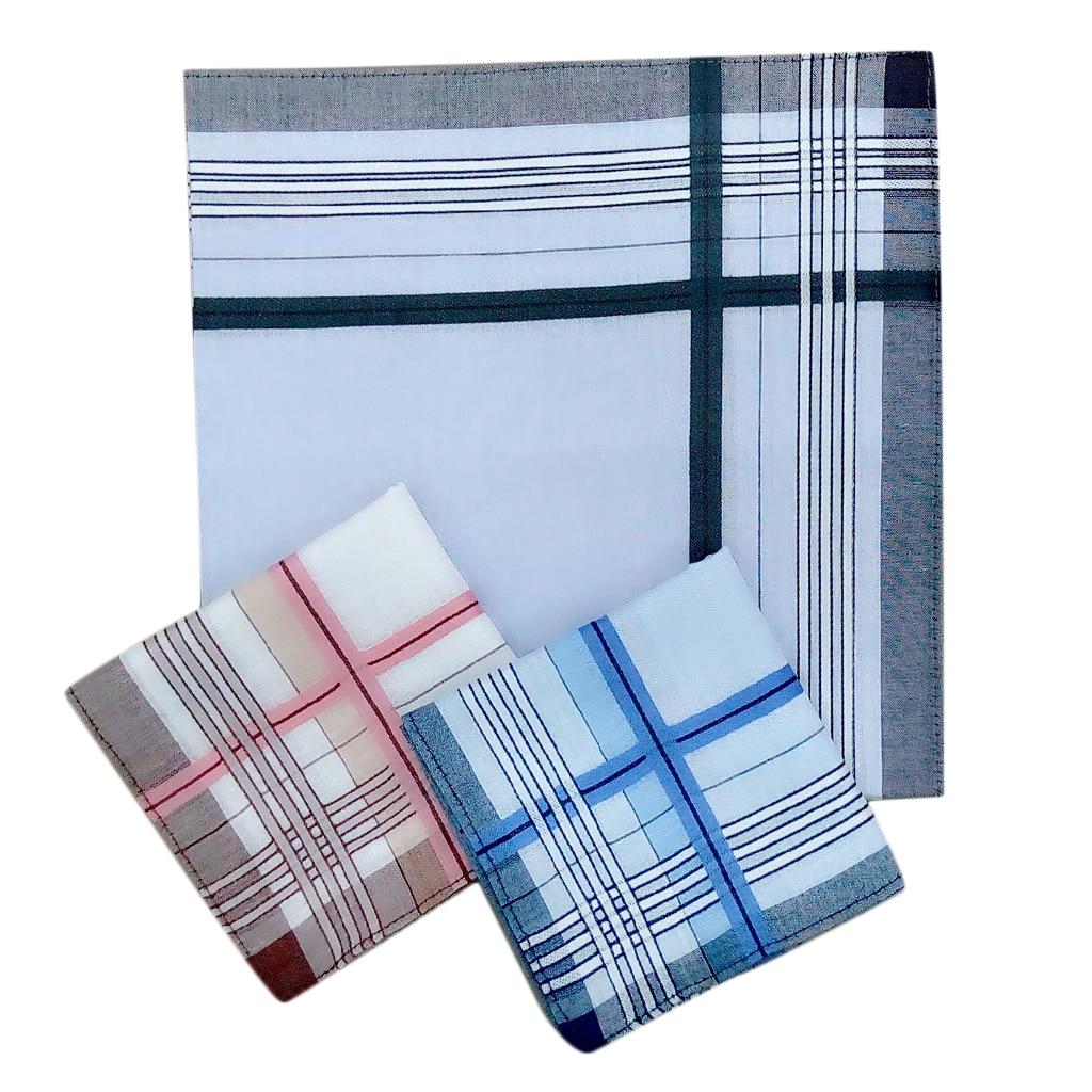 12pcs Mens Tartan Blue Pink Black Cotton Square Pocket Handkerchief Hanky