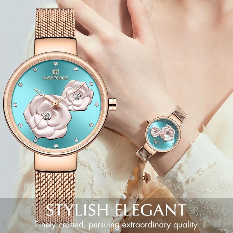 NAVIFORCE New Rose Gold Women Watches Dress Quartz Watch Ladies Top Brand Luxury Female Wrist Watch Girl Clock Relogio Feminin