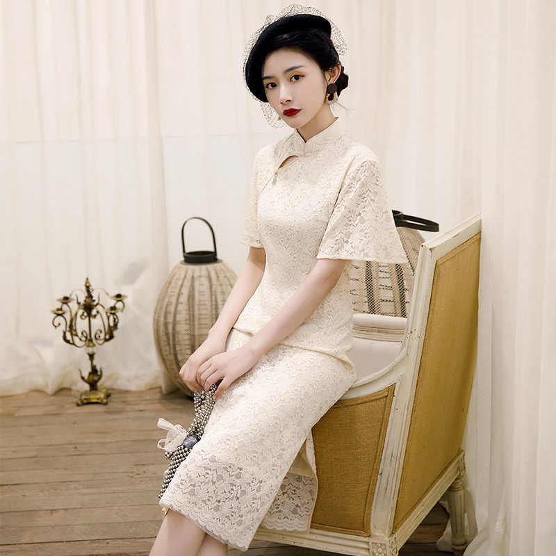 Yaz diz boyu Cheongsam geleneksel çin tarzı kadınlar düğme Qipao klasik Mandarin yaka parti elbise Vestidos M-3XL