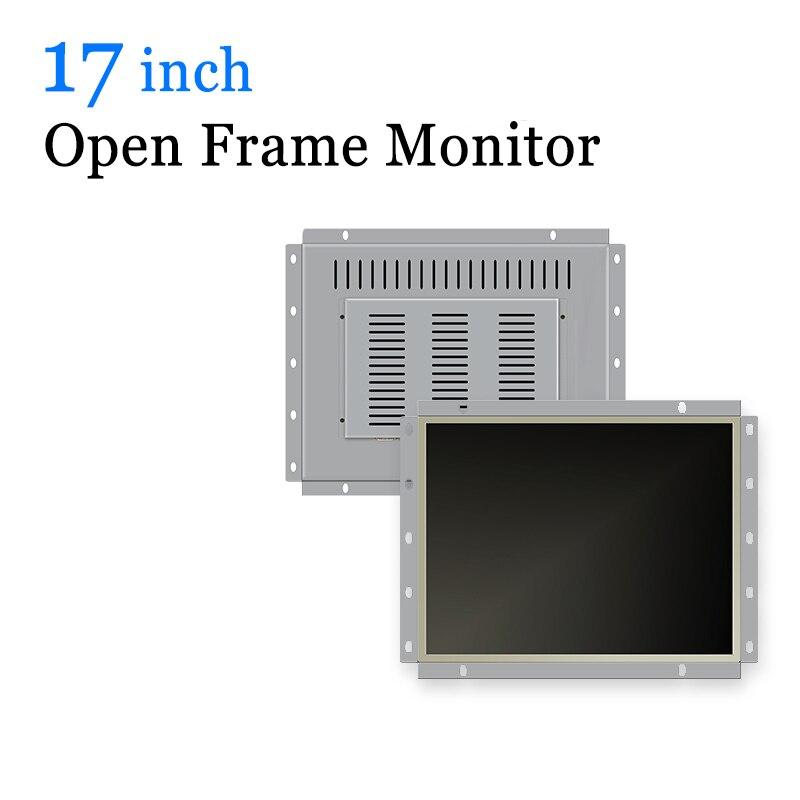 Moniteur LCD industriel à cadre ouvert de 17 pouces moniteur à écran tactile USB avec VGA HDMI DVI BNC AV TV