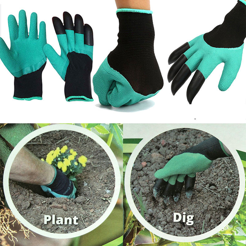 For Digging Planting 1 Pair Garden Gloves  Garden Genie Rubber Gloves Quick Easy To Dig And Plant With Claws 4 ABS Plastic