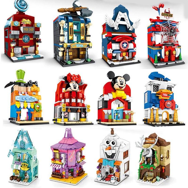 Хит продаж, 4 шт., магазин с Микки и Минни, уличная принцесса, Человек-паук, Капитан Америка, marvel, комплекты строительных блоков, Детские компл...