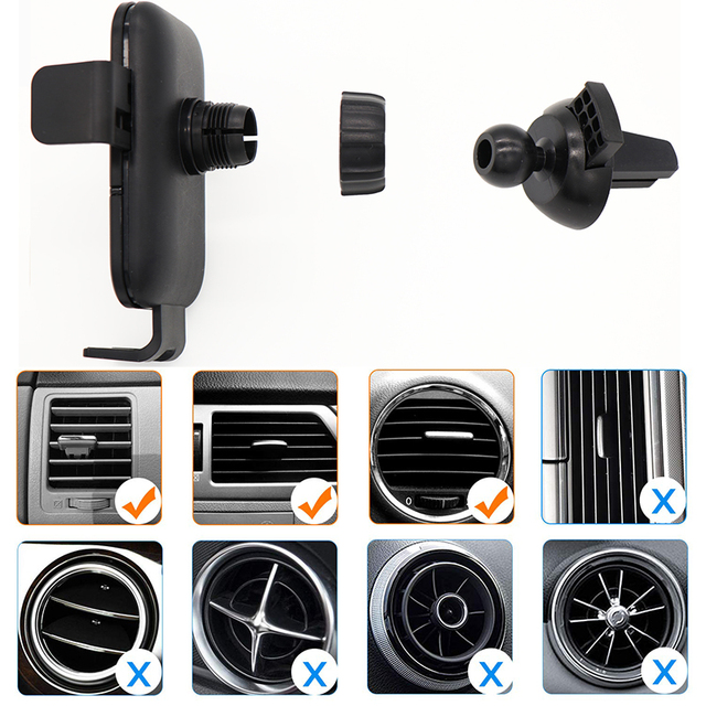 Wireless Car Charger ,Qi Automatic Clamping Air Vent Dashboard Car Phone Holder, 15W 7.5W Fast Charging,for Air Vent Dashboard