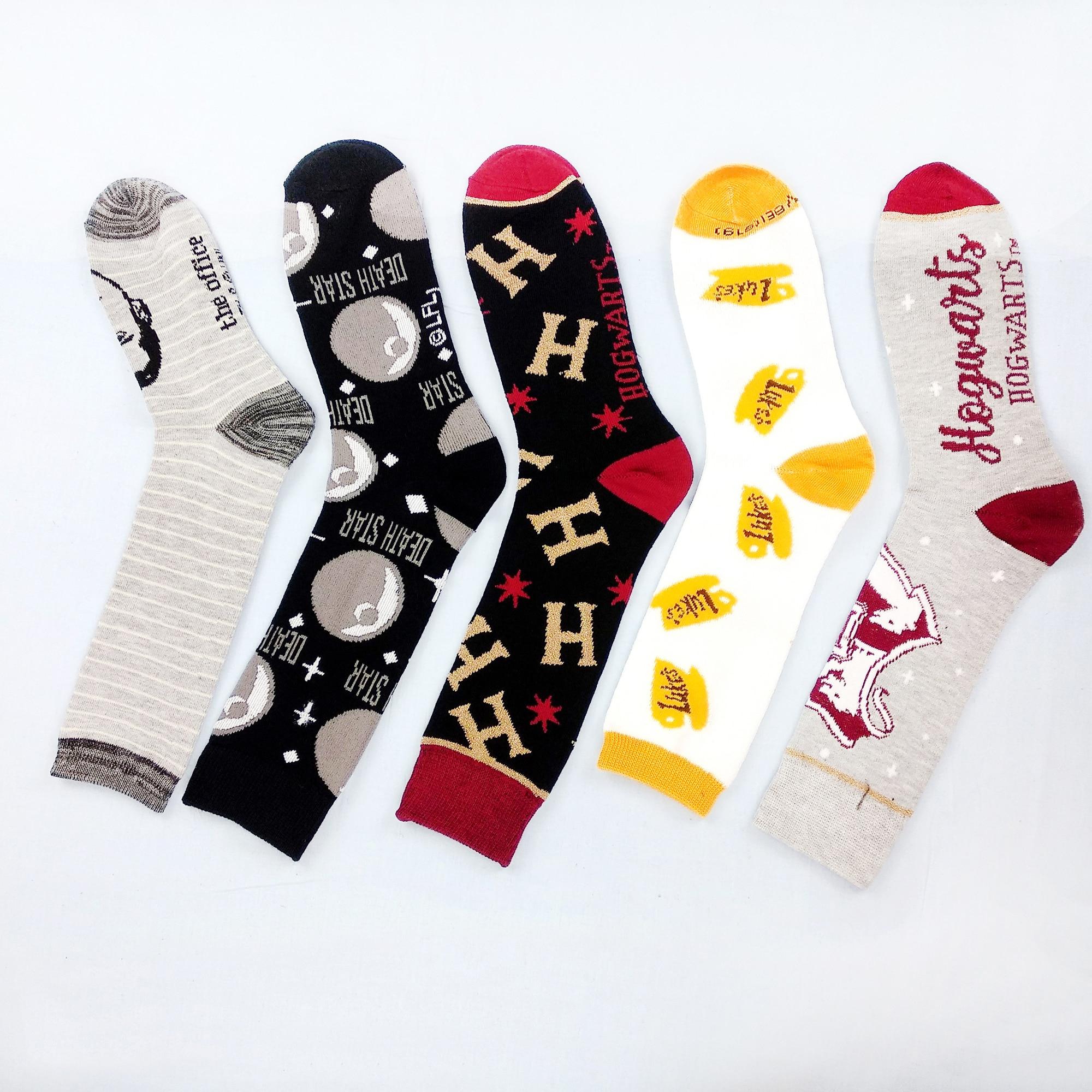 Colorful Funny Men Dress Socks Cotton Classic Cartoon Print Womens Socks Casual Street Style Short Socks