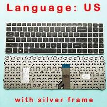 Novo teclado original com moldura de prata versão padrão dos eua para lg lg15n53 15n530 15nd530