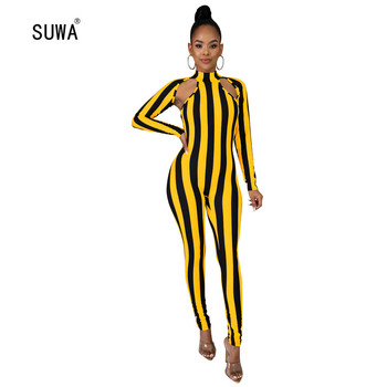 Hollow Out Striped Sexy Rompers 2020 Women Summer Spring Skinny Playsuit And Jumpsuit Club Party Clothing Wholesale