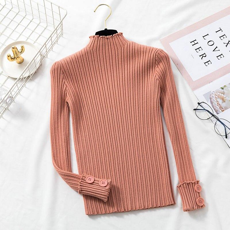 Gagaok Женский вязаный модный теплый свитер новый однотонный водолазка на пуговицах тонкий дикий стрейч Harajuku женский корейский пуловер