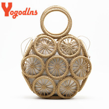 Yogodlns Handmade Summer Beach Women Straw Shoulder Bag Ladies Round Hollow Travel Daily Woven Handbag Holiday Knit Cotton Linen(China)