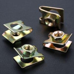 Image 5 - 20 sztuk uniwersalny prawo jazdy płyta zapięcie klip mocujący klamra metalowa śruba nakrętka u type klipy ustalający 6mm J139