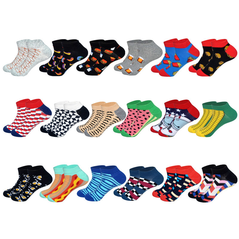 LIONZONE Newly Happy Socks Men Plaid Stripe Hot Dog Corn Hamburger Pattern Novelty Men Boat Socks Invisible Cotton Sock EUR40-46