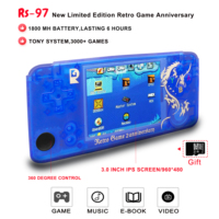 New RS97 Retro game plus video games buit in 3000 games console RS 97 handheld game console 64 bit classic games gift PS1 IPS