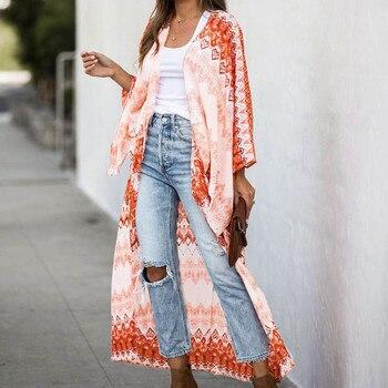 Cárdigan largo con estampado de manga de cinco cuartos para mujer, Rebeca larga con estampado de Estilo bohemio, camisa anti-sat, tops, cárdigan floral tipo kimono, F4 *