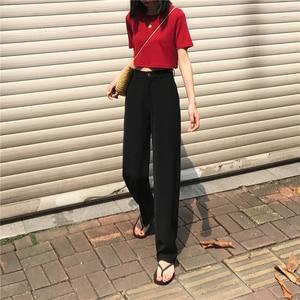 Image 3 - Pants Women Retro High Waost Solid Color Leisure Pant Spring Womens Korean Capris Elegant All match Trouser Ladies Button Pocket