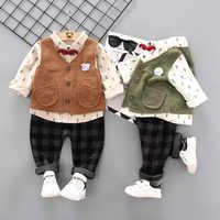 Costume pour enfants 2019 printemps et automne nouveau costume de garçon coréen chemise et gilet pour enfants costume 3 pièces 0-4 ans vêtements de garçon