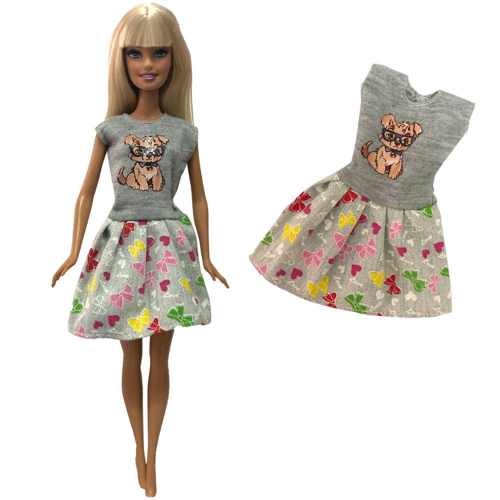 Nk 2020 mais novo um conjunto boneca cinza impresso roupas moda saia casual para barbie boneca acessórios melhores presentes das crianças 274a 5x