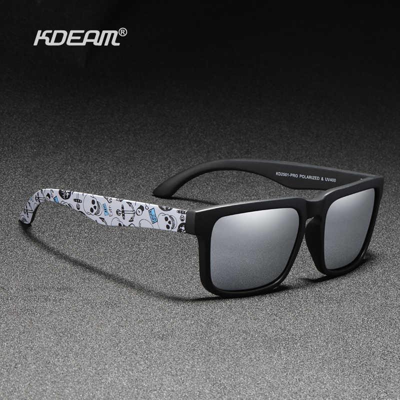 Kdeam nova atualização polarizada óculos de sol masculino revestimento real espelho lente casal óculos de sol com dobradiças de tanque 2501-pro