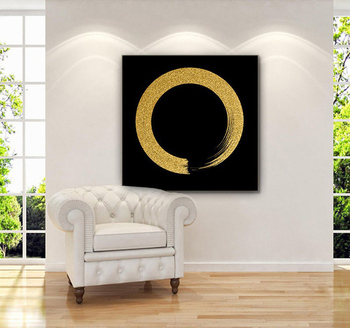Large Abstract Oil Painting Oversize Painting Gold Painting Circle Painting Wall Art Canvas Painting Home Decor Black Art