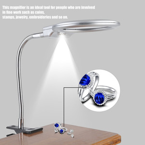 Metal Hose Magnifier 2.5X 107MM 5X 23MM LED Illuminating Magnifying Glass Desk Table Reading Lamp Light with Clamp Clip-on
