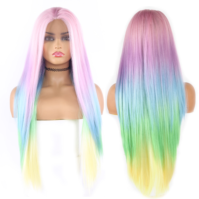 SOKU Synthetic Lace Front  Wigs Ombre Pink Blue Yellow Colorful Lace Hair Wigs For Black Women Straight Rainbow Lace Front Wig