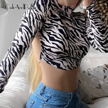 Zebra Printed Women's Sexy Shirts Hollow out Lace-up Backless Cropped Top Tees Streetwear Fashion Long Sleeves Top Cuteandpsycho