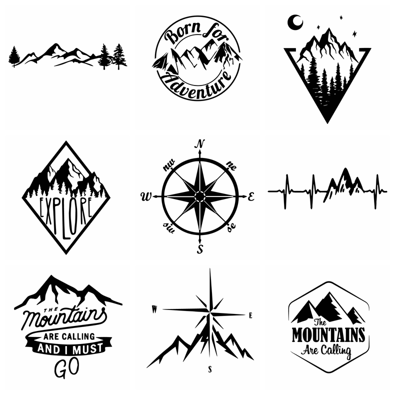 Newest  Carbon Sticker Compass And Mountains Car Stickers Cover Waterproof Scratch Sticker Accessories