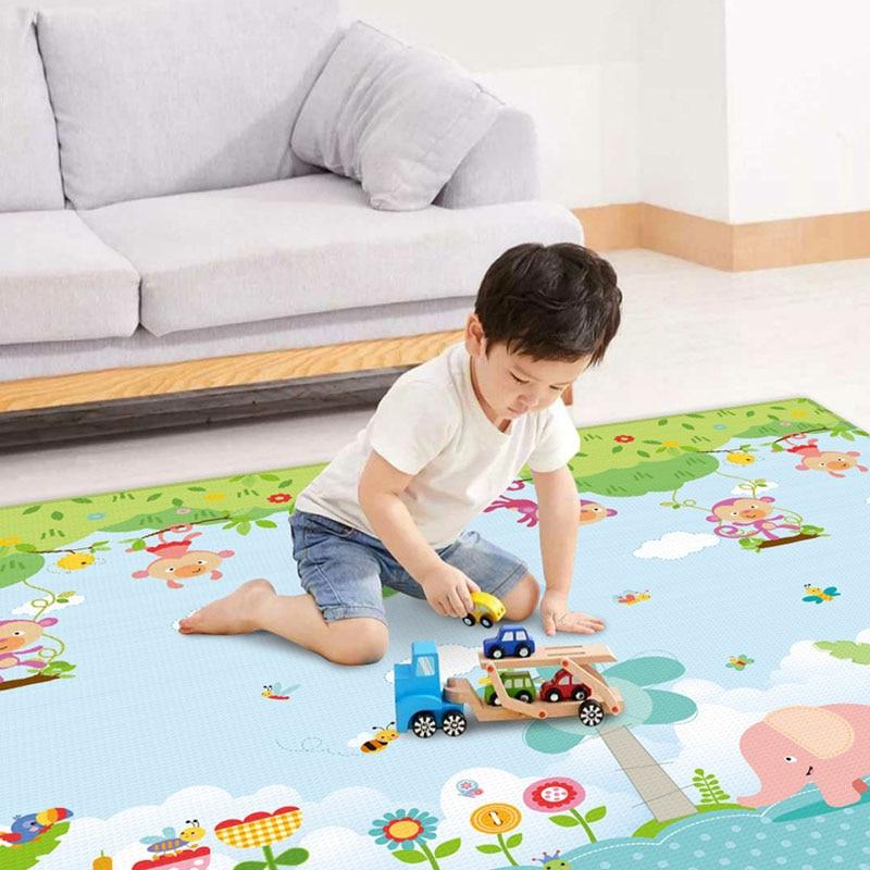 Baby Play Mat Foldable Creeping Mat 2M*1.8M Anti-Skidding Cartoon Floor Mat Baby Learning To Crawl Waterproof Mat
