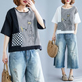 Photo Shoot 2019 New Style Summer Wear Cotton Linen Embroidered Tops Short Sleeve Loose-Fit T-shirt Women's
