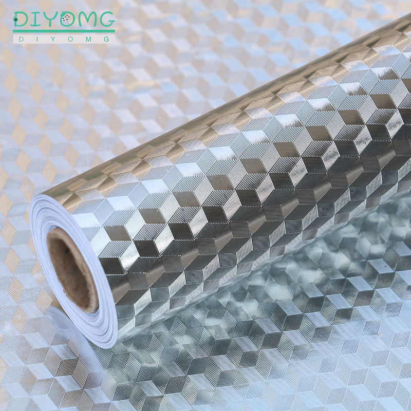 Modern Kitchen Oil-proof Self Adhesive Stickers Anti-fouling High-temperature Aluminum Foil Gas Stove Cabinet Contact Wallpaper