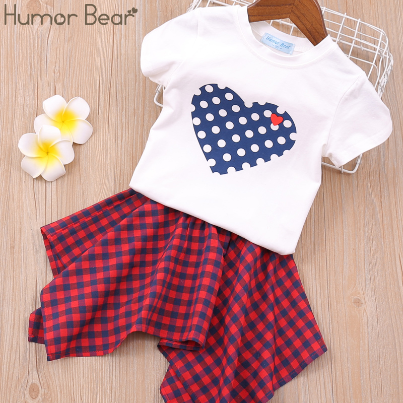 Hda57df88f13b4398b4243f300b31e632n Humor Bear Girls Clothing Set 2020 Korean Summer New Ice Cream Bow T-shirt+Pants Kids Suit Toddler Baby Children's Clothes