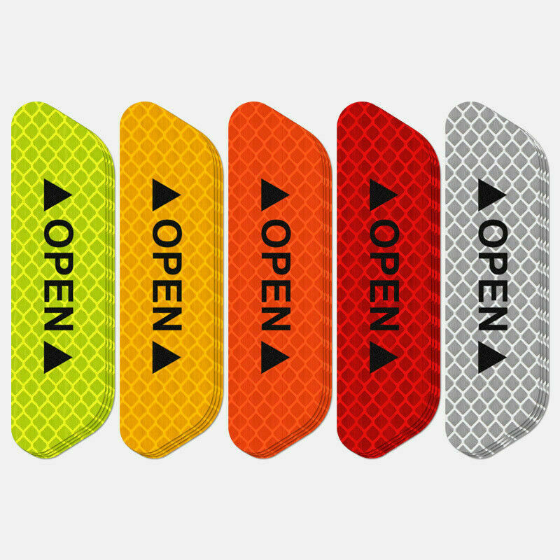 4 Universal Auto Car Door Open Sticker Reflective Tape Safety Warning Decal 4