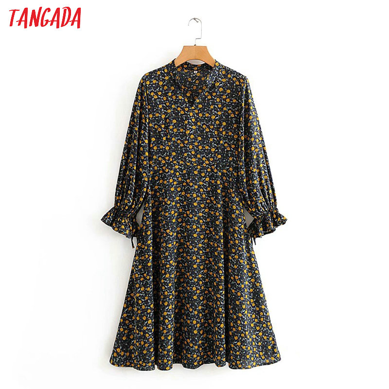 Tangada Korean Fashion Women Flowers Print Spring Dress V Neck Bow Long Sleeve Ladies Loose Midi Dress Vestidos 2J02
