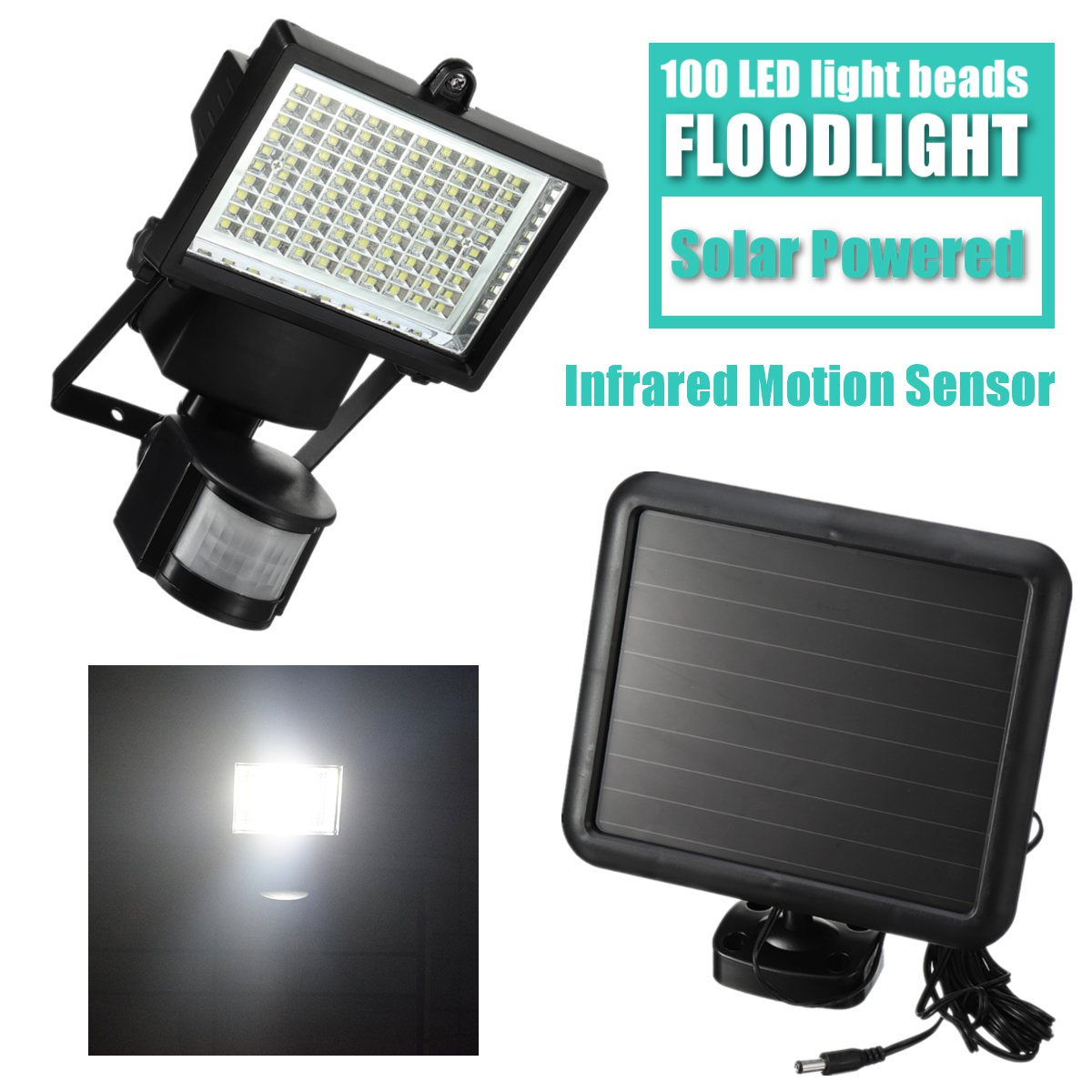 Solar Powered Floodlight Spotlight 100 LED Projector Lamp Infrared Motion Sensor Security Street Light Outdoor Garden PIR Lamp