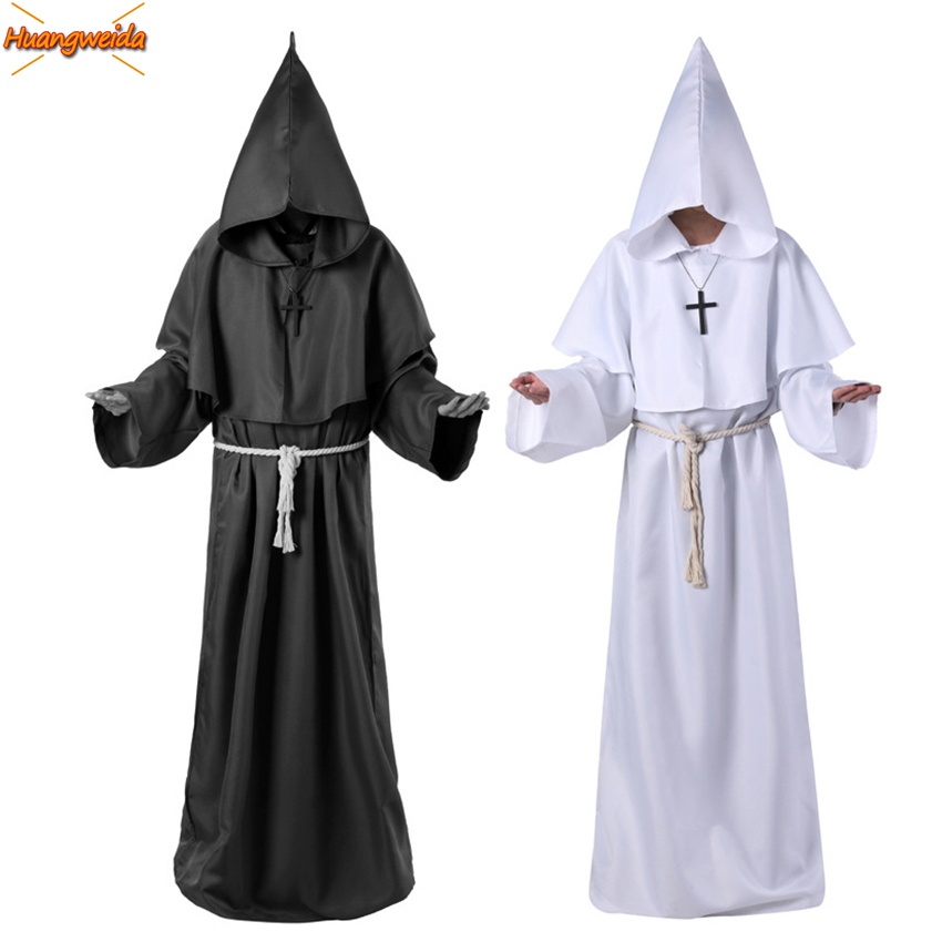 Horror Grim Reaper Costume Men Vintage Monk Cosplay Carnival Halloween Costumes For Men Adult Cloak Robe Scary Wizard Costumes