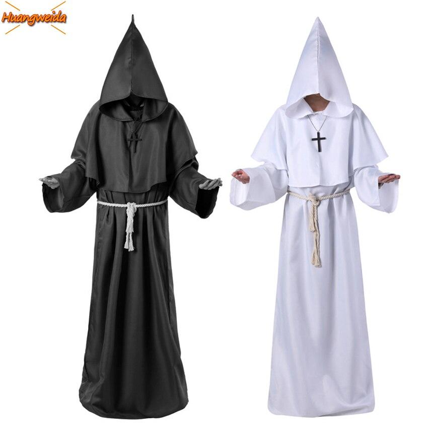 Horror grim reaper traje men vintage monge cosplay carnaval trajes de halloween para homem adulto manto manto assustador trajes do feiticeiro