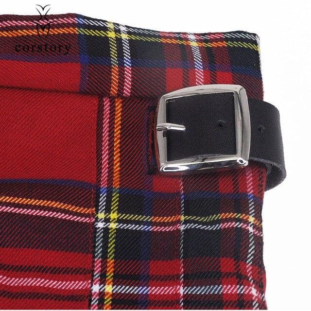 Schottischen Herren Kilt Traditionellen Rot Plaid Gürtel Plissee Kette Bilateralen Kurzen Rock Gothic Punk Schottland Röcke Tartan Hose XL