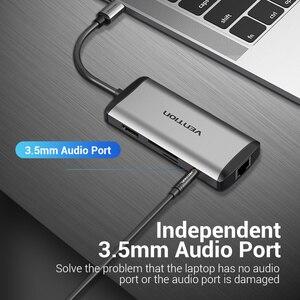 Image 5 - Chính Hãng Vention USB Loại C Sang Type C Sang HDMI VGA USB 3.0 Điện PD 3.5Mm Âm Thanh RJ45 Ethernet Adapter đầu Đọc Thẻ SD/TF USB Hub Mới