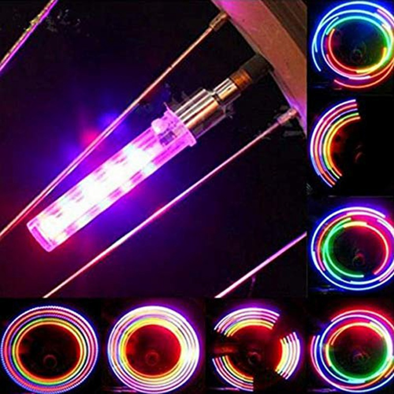 1 Pair Bicycle Lights Cycling Copious Type Wheel Tire Valve Cap Spoke Core Gas Nozzle Neon LED Warning Safety Lamp Lights